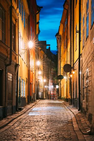 Stockholm, Sweden. Night View Of Traditional Stockholm Street. Residential Area, Cozy Street In Downtown. Palsundsgatan Street In Historical District Gamla Stan.