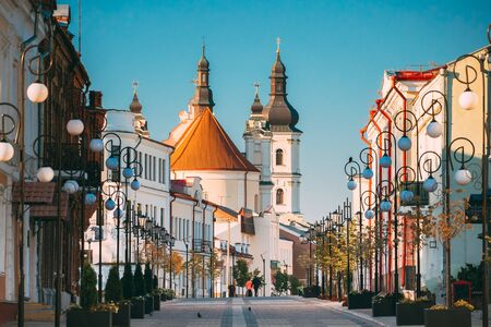 Pinsk, Brest Region, Belarus. Cathedral Of Name Of The Blessed Virgin Mary And Monastery Of The Greyfriars. Famous Historic Landmarks.