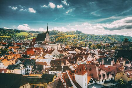 St. Vitus Church and cityscape Cesky Krumlov, Czech republic