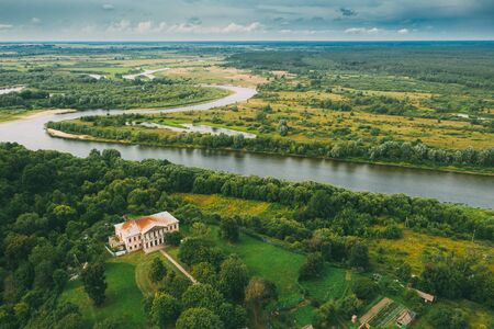 Khal'ch, Vetka District, Belarus. Aerial View Old House Manor Of Landowner Voynich-Senozhetskih. Top View Of Beautiful European Nature From High Attitude In Summer Season. Drone View. Bird's Eye View.