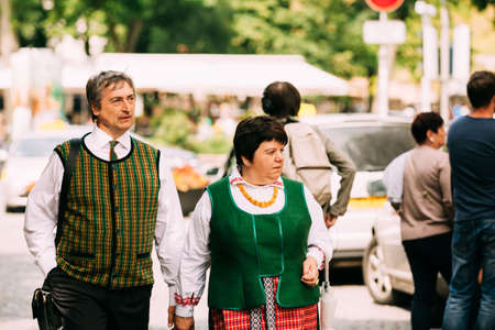 Vilnius, Lithuania - July 6, 2016: People dressed in traditional costumes during Statehood Day. Holiday in commemorate coronation in 1253 of Mindaugas King.