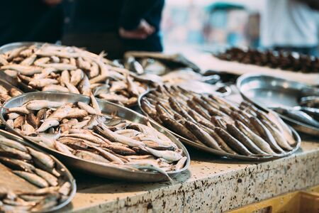 Fresh Fish On Display On Ice On Fishermen Market Store Shop. Seafood Fish. Top View