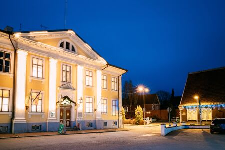 Parnu, Estonia. Night View Of Parnu Visitor Center In Evening Night Illuminations.