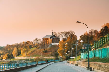 Grodno, Belarus. Road Kalozha Church In Sunny Autumn Evening. Church of Sts. Boris and Gleb