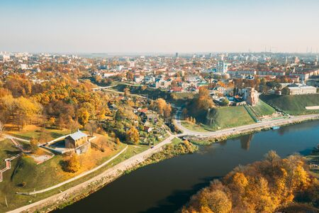 Grodno, Belarus. Aerial Birds-eye View Of Hrodna Cityscape Skyline. Kalozha Church And Other Famous Popular Historic Landmarks In Sunny Autumn Day. Church of Sts. Boris and Gleb.