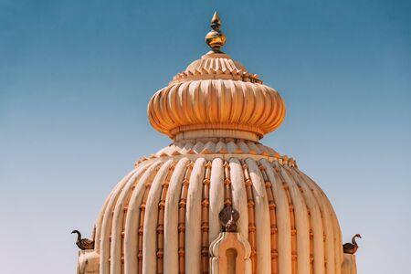 Mapusa, Goa, India. The Shree Ganesh Mandir, Ganeshpuri Temple. Famous Landmark And Popular Destination. Close Up Details Stock Photo