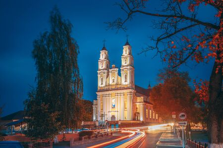Hlybokaye Or Glubokoye, Vitebsk Region, Belarus. Church Of Sts. Trinity In Evening Night Lighting Illuminations