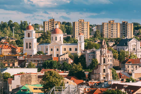 Vilnius, Lithuania. Bastion Of Vilnius City Wall And Orthodox Church Of The Holy Spirit In Summer Day. Vilnius Old Town 版權商用圖片