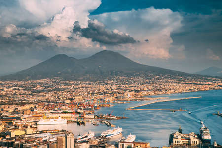 Naples, Italy. Top View Cityscape Skyline Of Naples With Mount Vesuvius And Gulf Of Naples In Background