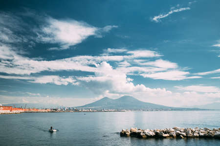 Naples, Italy. Tyrrhenian Sea And Landscape With Volcano Mount Vesuvius In Sunny Summer Day Reklamní fotografie