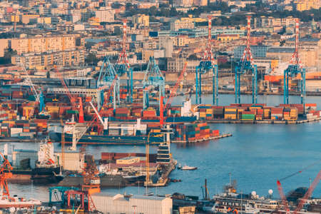 Naples, Italy. Top View Of Container Terminal In Port Of Naples Reklamní fotografie