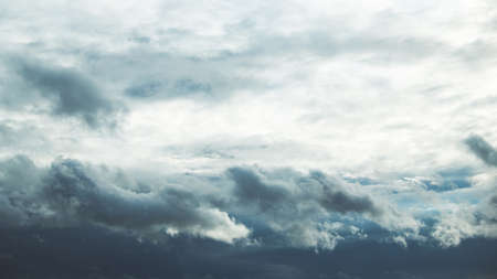 Cloudy Sky With Fluffy Rain Clouds. Natural Background