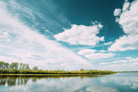 Rechytsa, Gomel Region, Belarus. Dnieper River. European Nature In Summer 版權商用圖片
