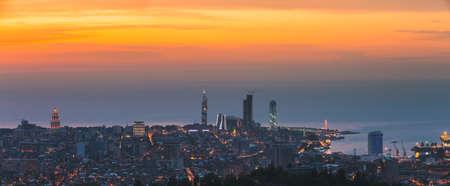 Batumi, Adjara, Georgia. Aerial View Of Urban Cityscape Skyline At Sunset. Georgian Black Sea Coast. Resort Town. Panorama, Panoramic View
