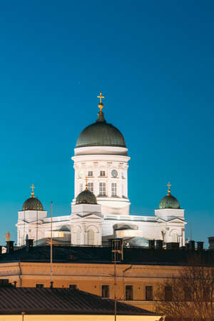 Helsinki, Finland. Senate Square With Lutheran Cathedral And Monument To Russian Emperor Alexander II At Summer Night