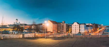 Helsinki, Finland. Panoramic View Of Helsinki Cathedral And Pohjoisranta Street In Evening Illuminations 版權商用圖片