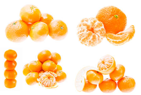 Mandarin Orange Fruits Isolated On White Background. Healthy Food. Mandarins Contain A High Content Of Vitamin C