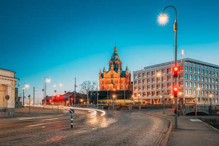 Helsinki, Finland. Uspenski Cathedral In Evening Night Illuminations.