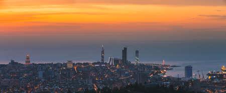 Batumi, Adjara, Georgia. Aerial View Of Urban Cityscape Skyline At Sunset. Georgian Black Sea Coast. Resort Town. Panorama, Panoramic View.