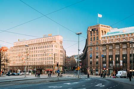 Helsinki, Finland. Buildings At Intersection Of Kaivokatu And Kaisaniemenkatu Streets In Winter Day 版權商用圖片