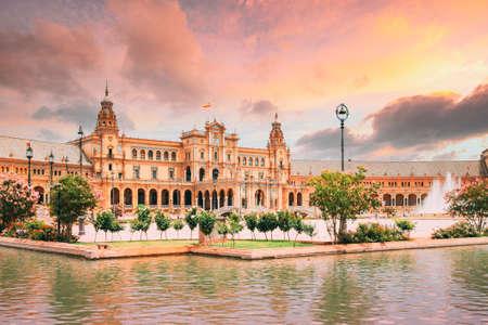 Seville, Spain. Famous landmark - Plaza de Espana in Seville, Andalusia, Spain. Renaissance Revival style. Spain Square. Altered Sunset Sky