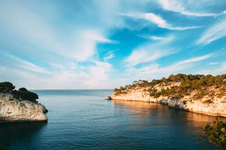 Cassis, Calanques, France. French Riviera. Beautiful Nature Of Cote De Azur On The Azure Coast Of France. Calanques - A Deep Bay Surrounded By High Cliffs. Elevated View