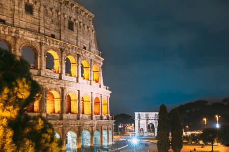 Rome, Italy. Colosseum Also Known As Flavian Amphitheatre In Evening Or Night Time. 写真素材