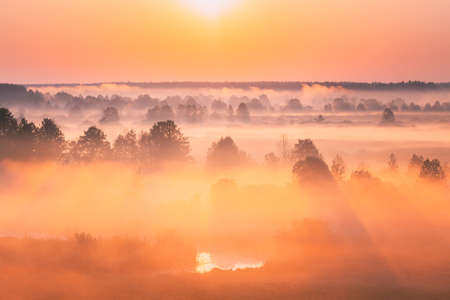 Amazing Sunrise Over Misty Landscape. Scenic View Of Foggy Morning Sky With Rising Sun Above Misty Forest And River. Early Summer Nature Of Eastern Europe. Sunset Dramatic Sunray Light Sunbeam