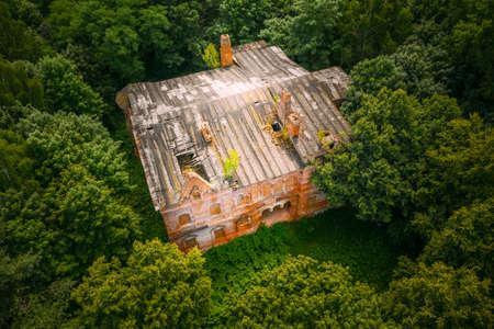 Dziemjanki, Gomel Region, Belarus. Aerial View Of Abandoned Dilapidated Manor House Gerard Nicholas Chernobyl Resettlement Zone. Chornobyl Catastrophe Disasters. Local Landmark And Heritage