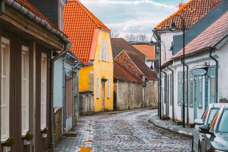 Kuressaare, Estonia. Famous Old Buildings Houses In Kohtu Street. Altered Sky