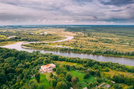 Khalch, Vetka District, Belarus. Aerial View Old House Manor Of Landowner Voynich-Senozhetskih. Top View. Birds Eye View