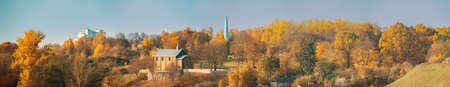 Grodno, Belarus. Kalozha Church In Sunny Autumn Day. Church of Sts. Boris and Gleb. Panorama, Panoramic View Stock fotó