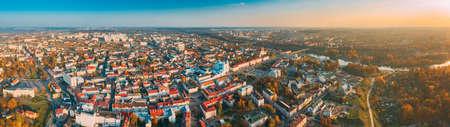 Grodno, Belarus. Aerial Birds-eye View Of Hrodna Cityscape Skyline. Famous Popular Historic Landmarks In Sunny Autumn Evening. Panorama in Sunset Lights