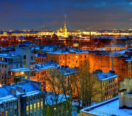 The Russian Federation, Saint Petersburg, view from above the city at night
