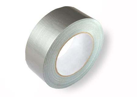 glass fiber: TPL tape consists of special glass fiber reinforced polyethylene basis with rubber adhesive coating. Waterproof reinforced adhesive tpl tape (duct), gray color with a metallic sheen, isolated image on white background.