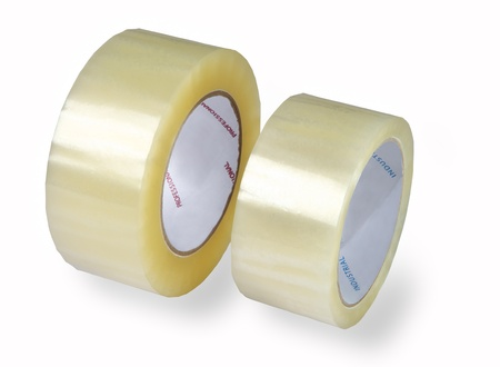 diameters: Two rolls of transparent packaging, adhesive tape, various diameters, photographed on a white background, isolated, added shadow. Stock Photo