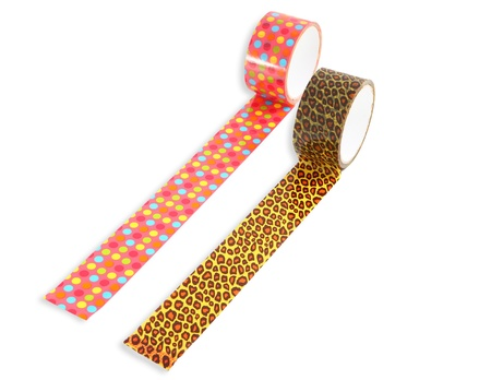packing tape: Two rolls of packing tape patterned with peas and leopard print, isolated image on a white background  Rainbow Dots Cute Deco Packing Tape