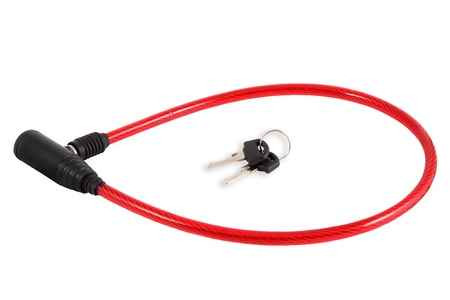 Length Flexible Steel Cable Red Bicycle Lock