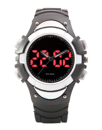 horologe: Black multifunctional clock with dual LED time display, WR30m, rubber strap