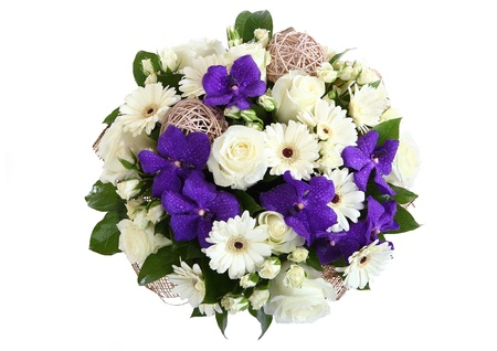 Round bouquet of three garden flowers  cream-colored roses, white gerbera daisies and violet orchids  View from above  The isolated image on a white background  photo