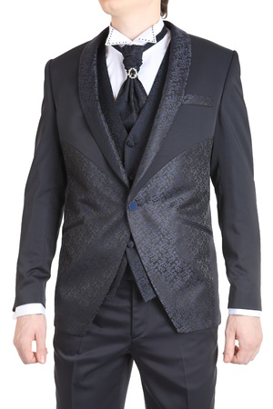 Gray suit for a wedding, prom and evening meal, complete  tie, vest, pants and shirt  The isolated image on a white background  photo