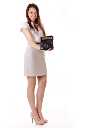 Female student with a calculator in hand photo