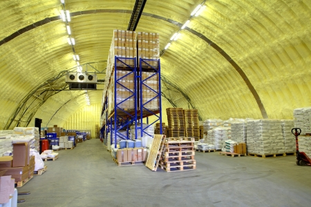polyurethane: ST-PETERSBURG, RUSSIA - JUNE 13:  storage hangar with shelves and goods, June 13, 2013. Warehouse hangar of polyurethane foam Editorial