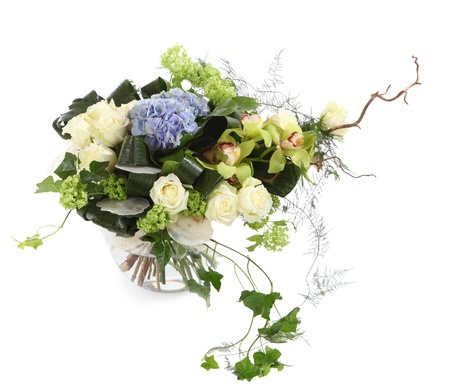 flower arrangement: Flower composition of white roses, ivy and orchids, isolated image on a white background  Bouquet of decorative Flowers  Floral arrangement  Stock Photo