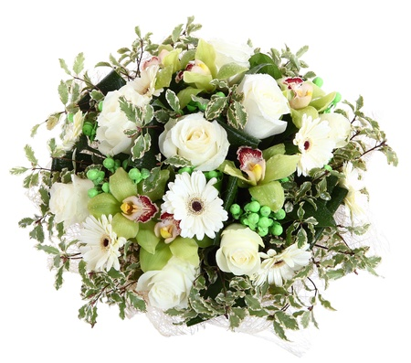 floristic: Floristic composition of white roses, white gerberas and orchids. Floral compositions, design a bouquet, floral arrangement.  Isolated on white background. Stock Photo