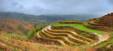 Rice Terraces, Dazhai village, Longsheng County, China. Yao village Dazhai, Longsheng, Guanxi province, south China. Guilin neighborhood, South West China. photo