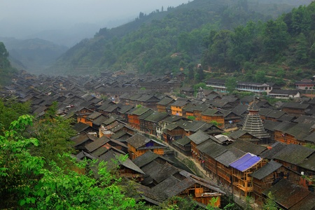 dong: Zhaoxing Dong Village (Zhao Xing Dong Zhai) in Southeast Guizhou Miao and Dong Nationalities Autonomous Prefecture of southwest China is one of the largest ethnic Dong Minority towns in the region. It is surrounded by mountains at all sides and this is th