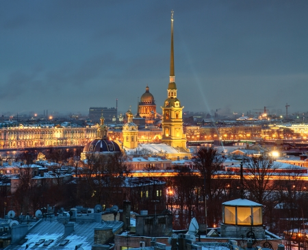 The Russian Federation, St  Petersburg, a top view of the city at night, and the Peter and Paul Fortress  photo