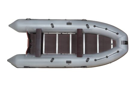 transom: Inflatable pvc, gray in color, with a deck plywood mahogany transom with pads under the engine, top view, isolated on white
