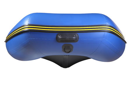 keel: The bow inflatable rubber blue boats  PVC with inflatable keel, isolated image on white background  View of the inflatable boat from the nose